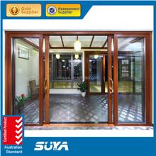Beautiful life triple glazed aluminium clading wood sliding window