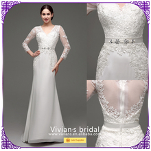 Elegant sweetheart neckline long sleeves woman muslim wedding dress SQ30244