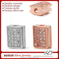 XD P734 10mm beads spacer with high quality cz micro pave 925 sterling silver findings
