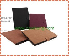 New arrival product Retro Plain Leather Wallet Case For iPad air 2
