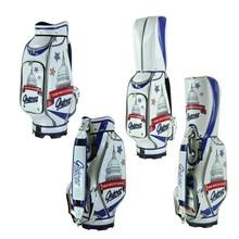 "Guiote 7-pocket Golf Cart Bag 10"" PU Leather Golf Staff Bag Standard Ball Package Bag Rainhood White House"