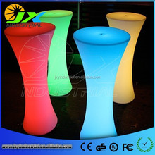 RGB rechargeable led table light PE material plastic furniture/Led Cocktail Table/interactive bar table