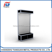 Customized single-sided metal slatwall back panel display stand supermarket rack/shelf