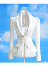 2015 long sleeve solid color slim small suit jacket, female white elegant lace coat with bow, women small suit jackets bfy028