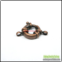 B0005 Copper Spring Ring Clasps Antique Copper Red Tone,End Caps For Necklace Dia. 17mm