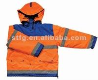 polar fleece warm traffic safety jacket with with elastic cuff