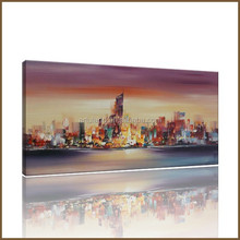 Hot sale handmade paiting, modern building canvas oil painting without frame