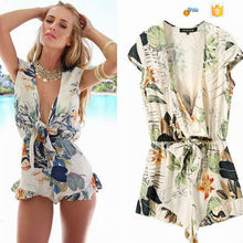 2015 latest printed women one piece jumpsuit/summer v neck sexy short adult jumpsuit