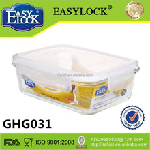 Heat resistant glass food storage container with lids