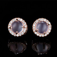 romantic good fashion wedding jewelry rose quartzs pink crystal korean earring for men