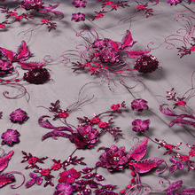 Top Grade luxurious pink handmade floral 3d flower beads embroidery bridal laces fabrics FB0008
