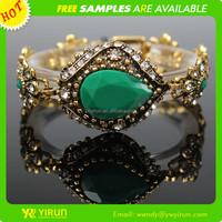 Fine custom hot sale vintage waterdrop rhinestone crystal chunky chain gold bracelet model