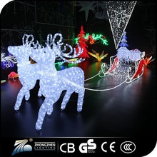 Fashion Crystal The Christmas Sleigh and deer 3d led motif light for Decoration