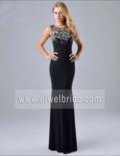 Sexy scoop neck black long chiffon back see through mermaid evening dress with stone