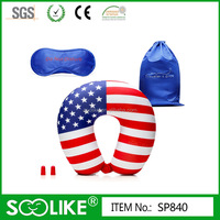 Travel neck pillow set for airplane with Memory Foam Earplugs for Adults & Satin Eye Mask for Sleep Included