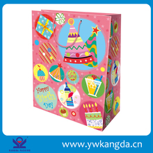 Good quality paper bags for birthday, birthday gift bag factory direct sale, pink background cheap birthday gift packing bags