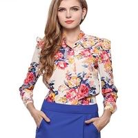 M10312A 2015 Autumn latest fashion design chiffon printed lady blouse