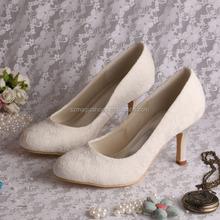 Ivory Fabric Lace Women Wedding Shoes