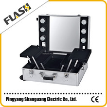 Professional Makeup Trolley Case/Beauty Makeup Cosmetic Case Box With Lights