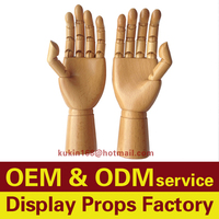 Female mannequin hands for display, Adjustable Articulated Wooden Hand Mannequins