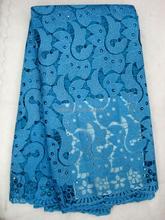 J467-6 turkeyblue color africano nigeria bordado guipur tela de encaje de tul con perla
