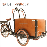 CE Holland bakfiets family 3 wheel cargo cheap electric tricycle bike with cabin box