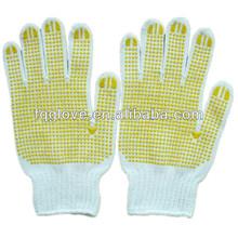 FQGLOVE two sides pvc dots white cotton grip gloves