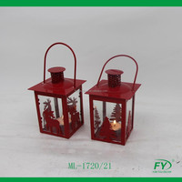christmas mini metal lantern with Christmas tree and deer decor ML-1720/21
