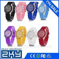 SZZKAIY-0098 Geneva Women's Fashion Crystal Case Mint Green Silicone Band Quartz Wrist Watch Jelly Watches Gifts