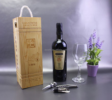 with rope handle wood case for wine