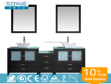 """90"""" Double Vanity in Espresso With Carrera White Marble Top With Mirror"""
