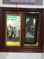 Wood color Aluminium double glazed windows for aluminium awning windows with invisible mosquito nets (Guang zhou)