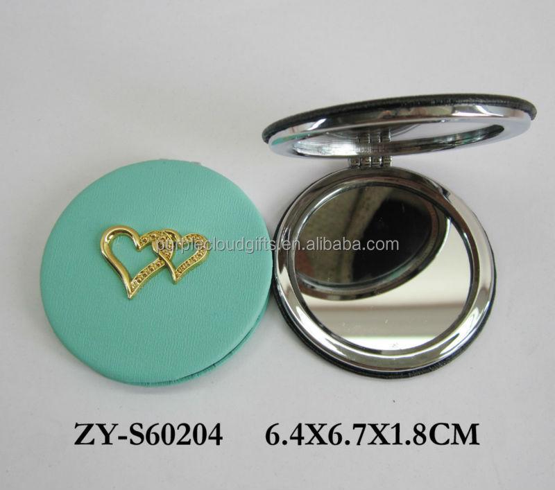 Pu cuir gros miroir compact miroir de maquillage miroir for Miroir western