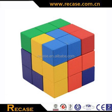 Colorful wooden cube puzzle promotional pieces connecting wooden toy
