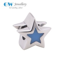 925 Sterling Silver Star Charms With Blue Enamel Beads Accessories Fit European Silver Snake