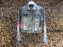 2015 Fashion Ladies Hot Fix Metal Long sleeves Denim Jacket