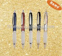 retractable light pen with silver metal clip