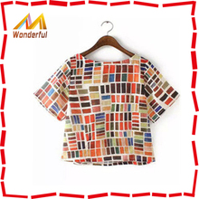 Ethnic style samll pattern shirt for beautiful women shirt crop style with hight qualty