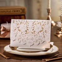 2015 Newest Laser cards Cut arabic wedding invitation cards with Embossed Flower CW073