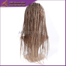 Wholesale 100% Hand Made full lace fashionable blonde african braided wig