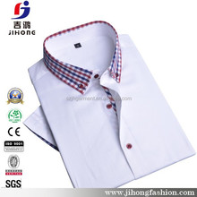 button down diffferent color collar plain 100 cotton men formal short shirts