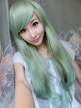 Lolita Anime Cosplay Long Straight Wigs Party Girls malachite green Full Wig + Cap
