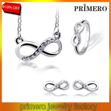 PRIMERO 2015 Four set jewelry Fashion silver color Infinity Rhinestone Crystal Earrings Necklace Bracelet Ring infinity jewelry