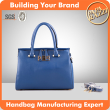 4662 newest fashion royal-blue yellow color ladies tote bag with long shoudler strap top double zipper handbag factory