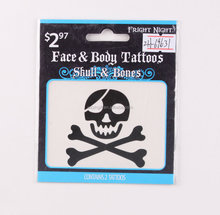 black skull bones face Tattoo Sticker