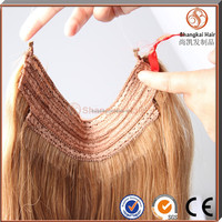 Cheap price remy peruvian hair halo hair extension in china