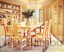 New Product for 2014 Modern Bamboo 5 pcs Dining Room Table &Chairs