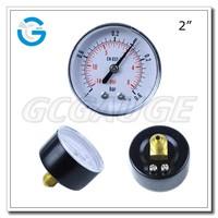 High quality dry black steel back connection type 50mm pressure gauge 0.6 bar
