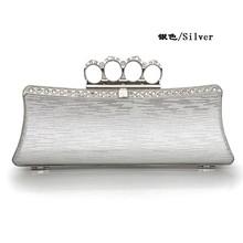 Glitter Pu Skull Ring Knuckle Hard Minaudiere Hard Case Clutch Box Evening Bag