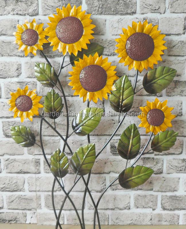 Indoor Outdoor Home Decoration Metal Flower Plaque Wrought Iron ...